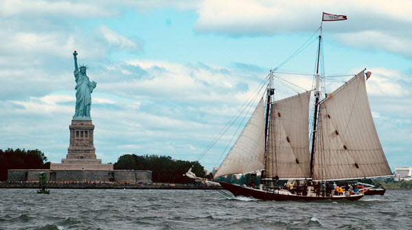The Statue of Liberty and Pioneer
