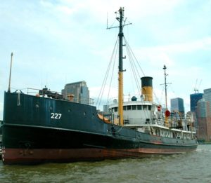 The historic steamship Lilac, where I volunteer as a museum docent, is docked at Hudson River Park Pier 25 in Lower Manhattan and is open to the public on weekends.